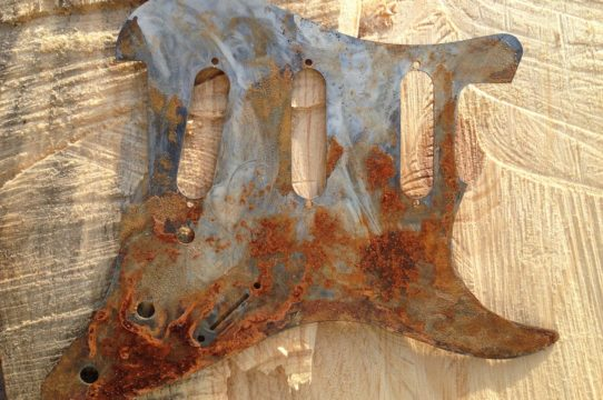 One of a kind metal pickguard from Rusted Relics